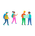 travelers group walking with map backpackers vector image vector image