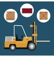 truck forklift warehouse machine work box vector image