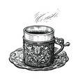 turkish coffee sketch hand drawn cup on a platter vector image