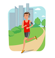 Urban sports Young man jogging for fitness in the vector image vector image