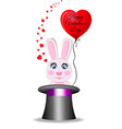valentines greeting card with rabbit in black vector image