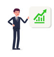 young businessman presenting growing graph icon vector image vector image