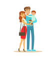 young happy couple with little baby boy colorful vector image