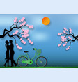paper art style of man and woman in love with vector image