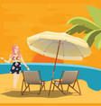 girl woman in beach seaside waiting for sunset vector image