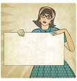 girl with banner in retro style vector image