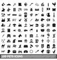100 pets icons set simple style vector image vector image
