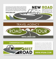 banners of road construction and travel vector image vector image