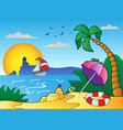 beach with umbrella and sand castle vector image
