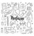 big set of hand drawn doodle medicine with vector image vector image