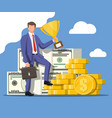 businessman holding trophy vector image vector image