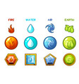 cartoon four natural elements icons - earth water vector image