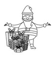 christmas season cartoons in black and white vector image vector image