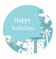circle with gift boxes white and blue colors vector image vector image