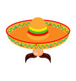 colorful cartoon mexican man avatar vector image