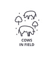 cows in field line icon outline sign linear vector image vector image