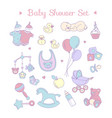 cute bashower invitation for boy or girl party vector image
