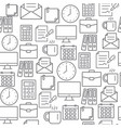 different line style icons seamless pattern office vector image vector image