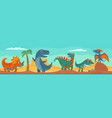 dinosaurs mountains palm cactus and sky vector image