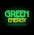eco poster green energy led neon alphabet vector image