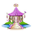 fairy house with pink crystals vector image vector image