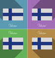Flags Finland Set of colors flat design and long vector image