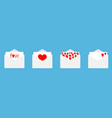 four envelope with red hearts set line happy vector image