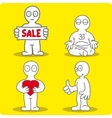 four little men on yellow background vector image vector image