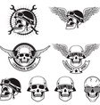 Freedom spirit Set of skulls in biker helmets vector image vector image