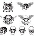 freedom spirit set skulls in biker helmets vector image vector image