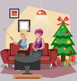 friends of a woman standing near to a christmas vector image vector image