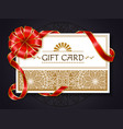 gift card decorated with ribbon bow swirl brochure vector image