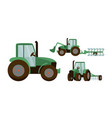 green tractor set agrimotor vector image