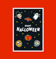 halloween greeting card with handwritten vector image