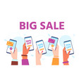 hands hold phones with sales supermarket online vector image vector image