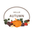 hello autumn pumpkin vegetable frame background ve vector image vector image