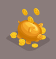 isometric bank deposit concept golden pig vector image vector image