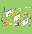 isometric flat concept backlink strategy vector image vector image