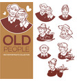 large collection of happy old people portraits vector image