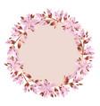 pale pink garden flowers wreath vector image vector image