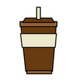 plastic cup with straw vector image