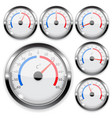 round weather thermometer with chrome frame vector image vector image