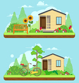 scene on summer day in garden vector image