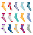set colorful socks with different patterns vector image