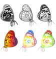 set of beautiful butterflies vector image