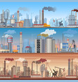 set of realistic detailed industrial web banner vector image vector image