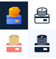 stack coins with a credit card stock icon set vector image