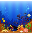 Sunken ship underwater background vector image