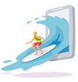 surfing online a smartphone wave surfing web vector image