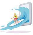 surfing online a smartphone wave web vector image vector image